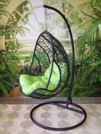 Závěsné křeslo QUEEN tmavé - zelený sedák