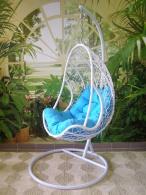 Závěsné křeslo QUEEN světlé  - modrý sedák