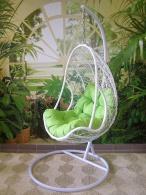 Závěsné křeslo QUEEN světlé - zelený sedák