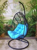 Závěsné křeslo QUEEN tmavé - modrý sedák
