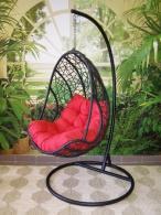 Závěsné křeslo QUEEN tmavé - červený sedák