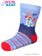 Dojčenské bavlnené ponožky New Baby modro-červené happy dog NEW BABY