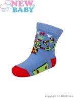 Dojčenské bavlnené ponožky New Baby modro-zelené funny cow NEW BABY