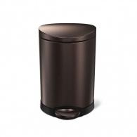 Pedálový odpadkový koš Simplehuman – 6 l, půlkulatý, tmavý bronz