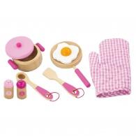 Detský drevený riad Viga-raňajky ružový Viga