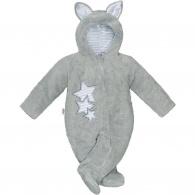 Zimná detská kombinéza New Baby Ušiačik šedá NEW BABY