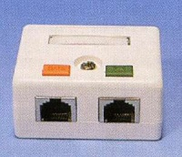 Zásuvka 2port na om.,STP Cat5E, bílá, blok 110
