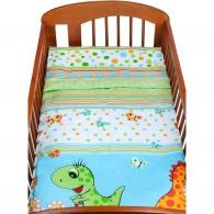 2-dielne posteľné obliečky New Baby 90/120 cm zelené s dinom NEW BABY