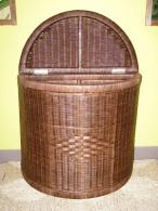 Ratanový prádelní koš půlkulatý-tmavý