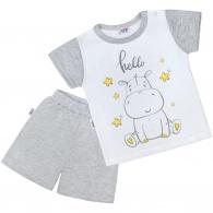 Detské letné pyžamko New Baby Hello s hrošíkom bielo-sivé NEW BABY