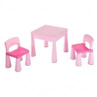 Detská sada stolček a dve stoličky NEW BABY ružová NEW BABY